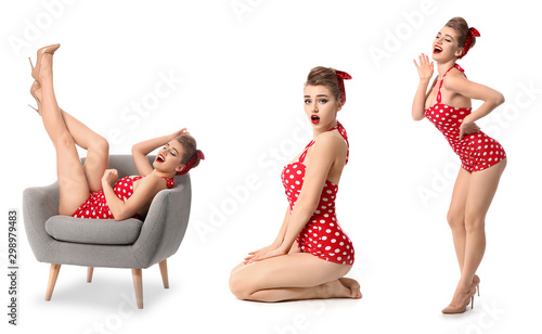 Photo Collage with beautiful pin-up woman on white background
