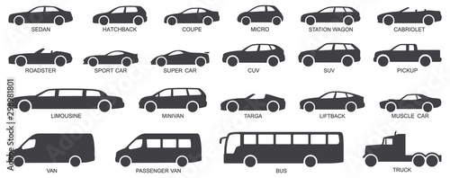 Vászonkép Car body types vector illustration