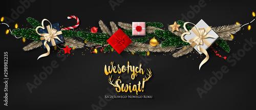 Fotografía Polish Christmas and Happy New Year greeting card