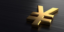 Golden Yen Sign Lies On A Dark Chrome Background. 3d Rendering Illustration