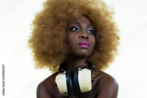 beautiful sexy disco dj woman Canvas Print