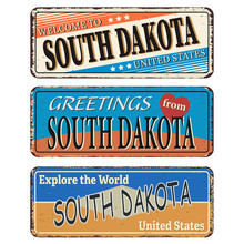 Vintage Tin Sign With America State South Dakota Retro Souvenir Or Postcard Template On Rust Background.