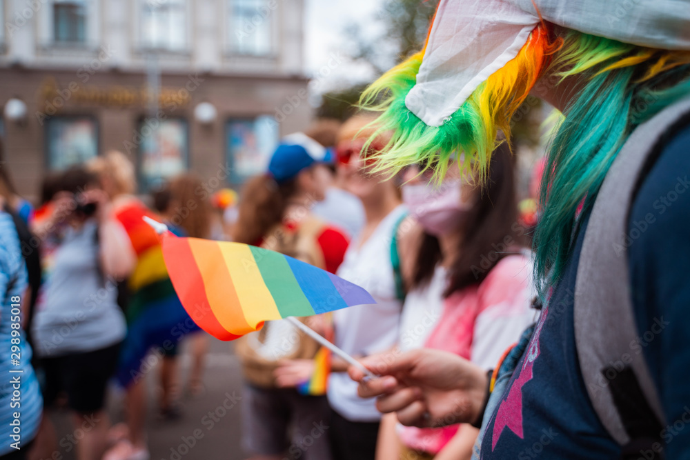 Fototapety, obrazy: Happy crowd waving lgbt flags during Pride Parade