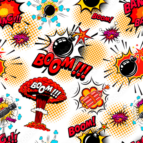 Seamless pattern with comic style bomb burst. Design element for poster, card, banner, t shirt.