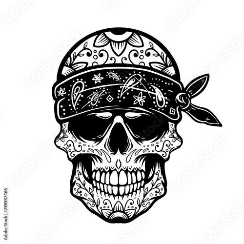 Mexican sugar skull in bandana Canvas Print