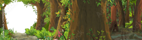 Fotografie, Tablou  cartoon summer scene with meadow in the forest illustration for children