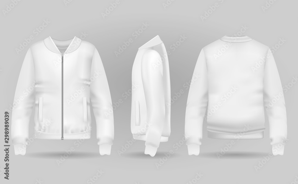 Fototapeta Blank white jacket bomber in front, back and side views. Vector illustration. Realistic bomber for sport and urban style