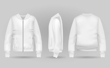 Blank White Jacket Bomber In F...