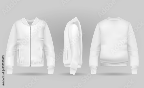Blank white jacket bomber in front, back and side views Fototapeta