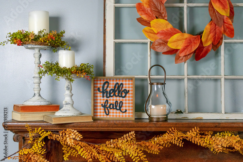 Cozy fall decorations on the mantel - cozy home decor Canvas Print