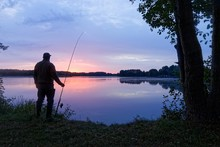 Silhouette Fisherman Standing ...