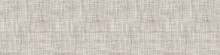 Natural Gray French Linen Texture Border Background. Old Ecru Flax Fibre Seamless Pattern. Organic Yarn Close Up Weave Fabric Ribbon Trim Banner. Sack Cloth Packaging, Canvas Edging. Vector EPS10