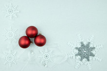 Three Red Baubles And Chrtistmas Decorations