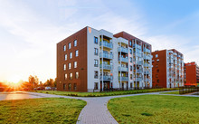 Modern Residential Apartments With Flats Buildings Exterior And Outdoor Facilities