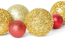 Gold And Red Christmas Shiny Balls Isolated On White Background. Large Glitter Christmas Ornaments.