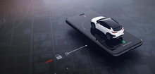 Smartphone Application UI For Remotely Car Control (remote Car Lock) (3D Illustration)