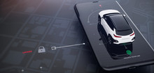 Smartphone Application UI For Remotely Car Control (remote Car Lock) (3D Illustration)