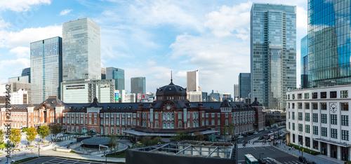 Photo (東京都-風景パノラマ)展望ラウンジから望む東京駅前の全景2