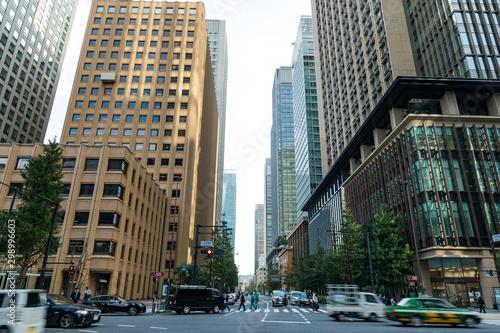 Photo (東京都ー都市風景)大手町オフィスビル街の風景