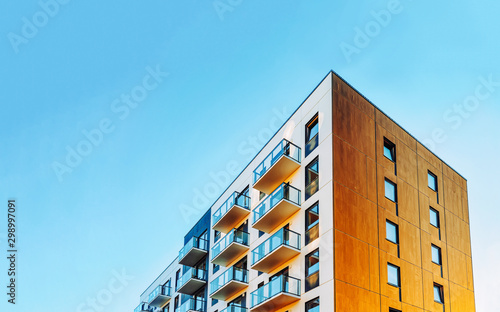 Part of Modern residential apartment with flat building exterior