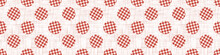1950s Gingham Polka Dot Seamless Border Repeat Pattern. Classic Red And White Texture Background. Retro Lolita Fashion Textile, Picnic Cloth Ribbon Trim. Vintage Apron  Banner. Vector Eps 10