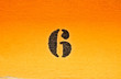 canvas print picture - 6, number six, black digits on graduated orange / saturated yellow background.