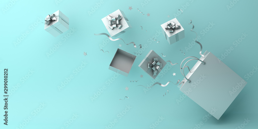 Fototapety, obrazy: Winter abstract design creative concept, white flying shopping bag, gift box and confetti on blue pastel background. Copy space text area. 3D rendering illustration.