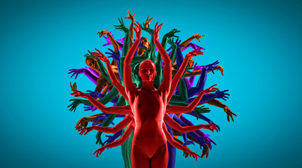 The group of modern ballet dancers like a bright tree. Contemporary art balle...