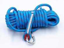 ฺClimbing Rope, Blue Color Rope On White Background