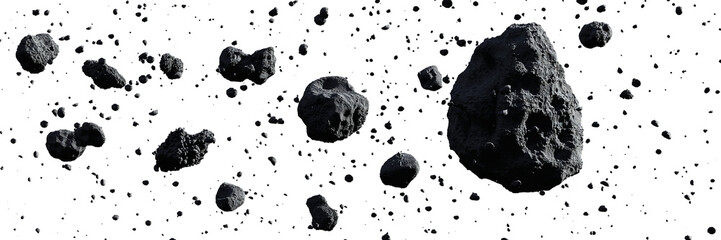 swarm of asteroids isolated on white background