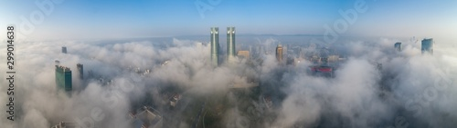 Foto auf Gartenposter Shanghai A City shrouded in fog in the morning, Nanchang, China