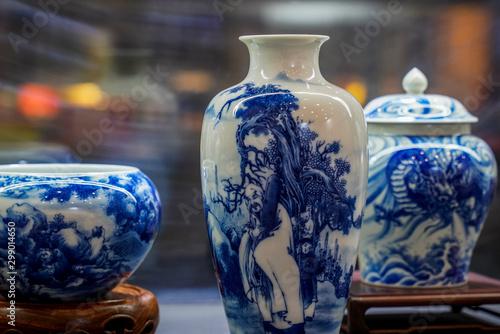 Fotografía Blue and white porcelain vase at the exhibition