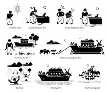 Noah Ark Christian Bible Story. Illustration Artwork Of Noah Building The Ark To Save Animals Before The Big Flood By God.