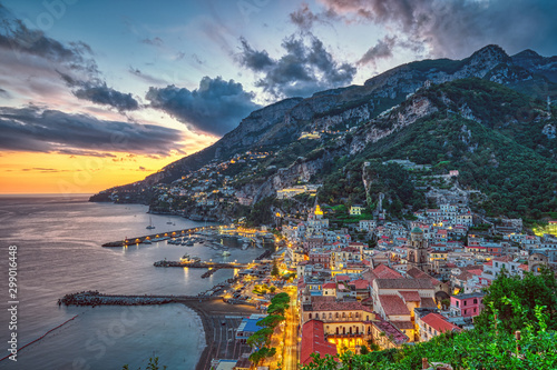 Fototapeta  Sunset in Amalfi on the coast of the same name in Italy