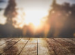 canvas print picture - Empty wooden table top with lights bokeh on nature blur background