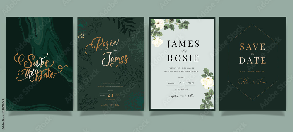 Fototapety, obrazy: Mix Emerald green Luxury Wedding Invitation, floral invite thank you, rsvp modern card Design in white peony with  leaf greenery  branches decorative Vector elegant rustic template