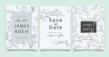 Little Bird Wedding Invitation Set, Floral Invite Thank You, Rsvp Modern Card Design In Yellow Floral With Gray Leaf Greenery  Branches Decorative Vector Elegant Rustic Template