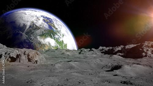 Fototapeta Moon surface, lunar landscape  obraz