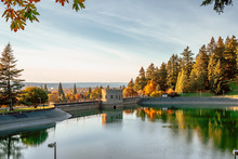 Scene Of Mt. Tabor's Water Reservoirs Park In Oregon State