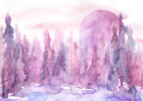 Foto auf Gartenposter Weiß Watercolor painting, illustration, greeting card. Forest, suburban landscape, silhouettes of fir trees, pines, trees and bushes, the night sky with stars, moon. pink, burgundy color.