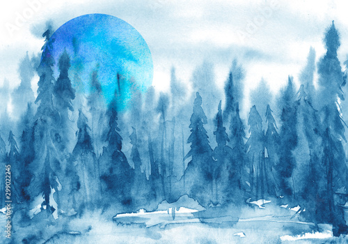 Foto auf Gartenposter Blau Jeans Watercolor group of trees - blue fir, pine, cedar, fir-tree. Forest on the slope, cliff, grief. Blue forest, landscape, fog forest landscape, slope, mountain. Full moon, eclipse.