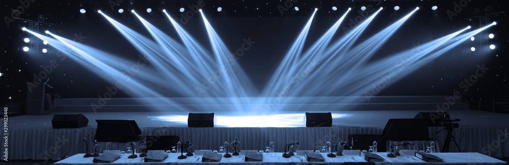 Fototapeta Empty stage and concert lighting background in award ceremony theme creative or singing contest