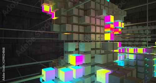 Abstract architectural concrete interior from an array of white cubes with color gradient neon lighting. 3D illustration and rendering. © SERGEYMANSUROV