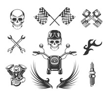 Bikers Club Isolated Icons, Mo...