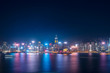 Cityscape and skyline at Victoria Harbour in Hong Kong city at Night
