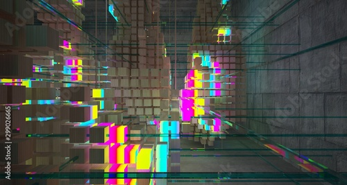 Abstract architectural concrete and wood interior from an array of white cubes with color gradient neon lighting. 3D illustration and rendering. © SERGEYMANSUROV