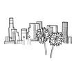 Vector illustration. Los Angeles America. Hand drawn style logo sign.