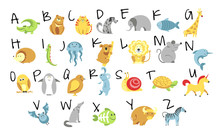 Animals And Zoo Alphabet, Abc And Childish Education, Isolated Letters
