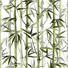 Fototapeta Bambus Bamboo Seamless Vertical Border on white background