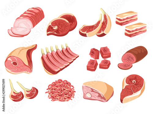 Fotografía  Meat products, butcher shop or market, isolated food